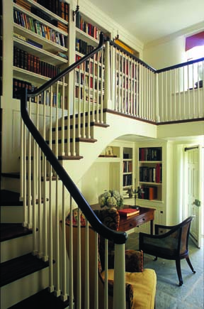 Zimmerman opened the library space in the original structure to two stories and incorporated a staircase and balcony.